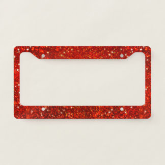 Faux Red Glitters. License Plate Frame