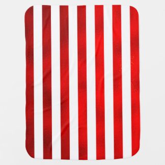 "Faux Red White Vertical Stripes ""Candy Stripe"" Baby Blanket"