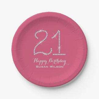 Faux Rhinestone 21st Birthday Paper Plate