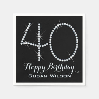 Faux Rhinestone 40th Birthday Paper Napkin