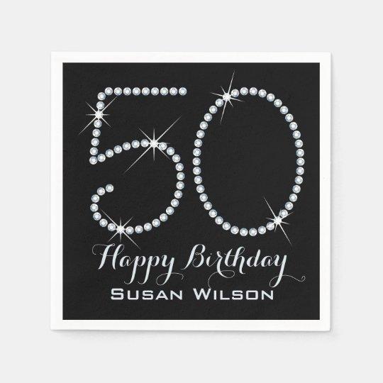 Faux Rhinestone 50th Birthday Paper Napkins