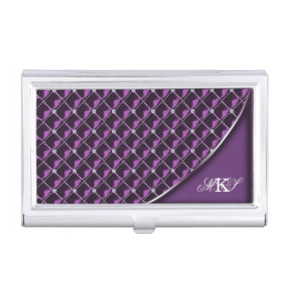 Faux Rhinestone Quilt Monogram Purple Business Card Holder