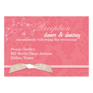 Faux Ribbon Coral Pink Wedding Reception (3.5x2.5) Business Cards