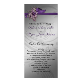 FAUX ribbon purple Wedding program Rack Card Design