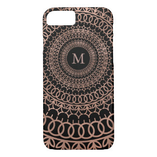 Faux Rose Gold & Black Intricate Mandala Monogram iPhone 8/7 Case