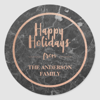Faux Rose Gold & Black Marble | Happy Holidays Classic Round Sticker