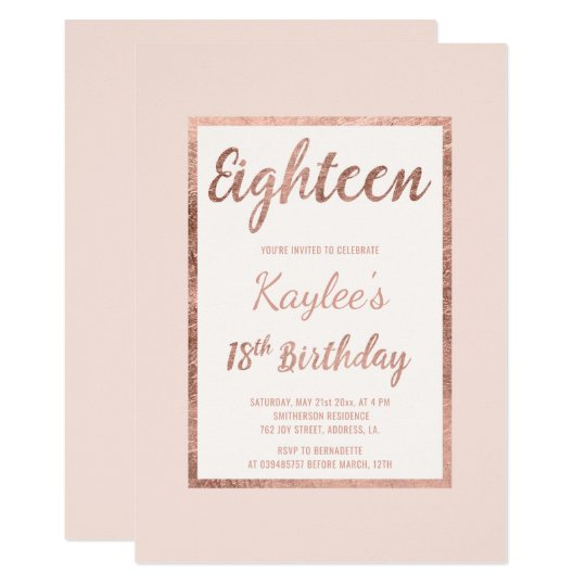 Faux Rose Gold Blush Pink Elegant 18th Birthday Card