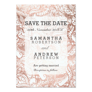 """Faux rose gold boho floral handdrawn save the date 5"""" x 7"""" invitation card"""