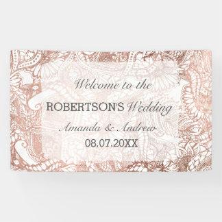 Faux rose gold boho floral handdrawn wedding banner