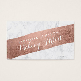 Faux rose gold brushstroke marble makeup artist business card