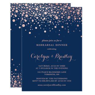 Faux Rose Gold Confetti | Blue Rehearsal Dinner Card