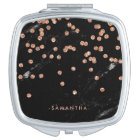 Faux Rose Gold Confetti on Black Marble Look Compact Mirror