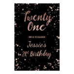 Faux rose gold confetti splatters 21st Birthday Poster