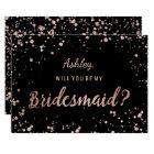 Faux rose gold confetti splatters bridesmaid card