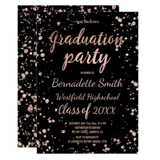 Faux rose gold confetti splatters graduation party card
