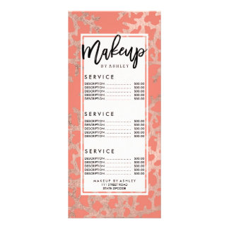 Faux rose gold coral sea pattern salmon rack card