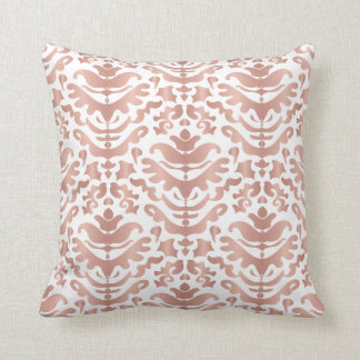 Faux Rose Gold Damask Pattern Throw Pillow