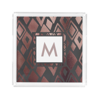Faux Rose Gold Diamond Pattern and Monogram Tray