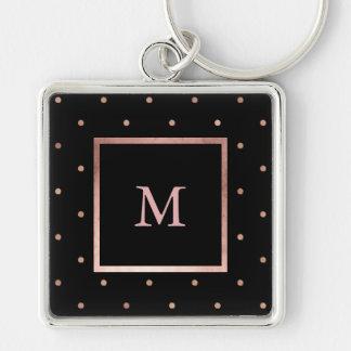 Faux Rose Gold Dots on Black Monogram Keychain