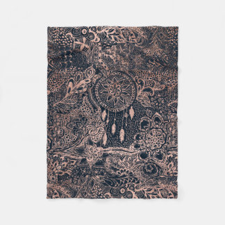 Faux rose gold dreamcatcher floral navy blue fleece blanket
