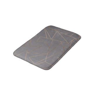 Faux rose gold elegant modern minimalist geometric bath mat