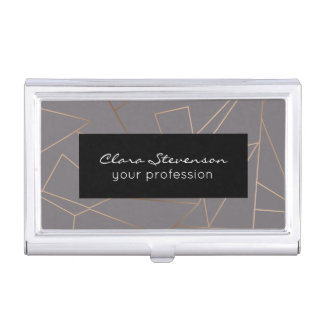Faux rose gold elegant modern minimalist geometric business card holder