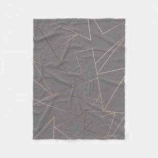 Faux rose gold elegant modern minimalist geometric fleece blanket