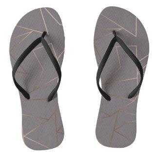 Faux rose gold elegant modern minimalist geometric flip flops