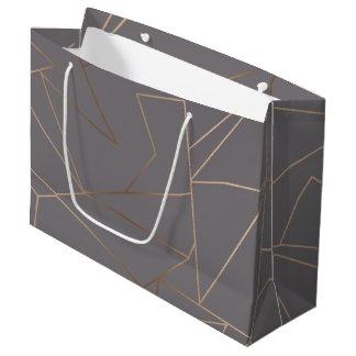 Faux rose gold elegant modern minimalist geometric large gift bag