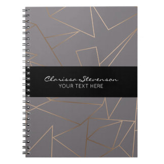 Faux rose gold elegant modern minimalist geometric notebook