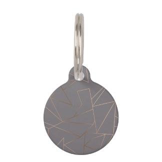 Faux rose gold elegant modern minimalist geometric pet ID tag