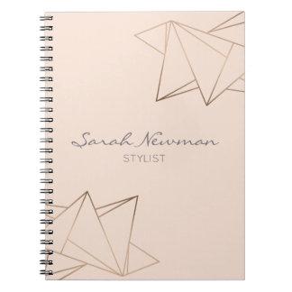 Faux rose gold elegant modern minimalist geometric spiral notebook