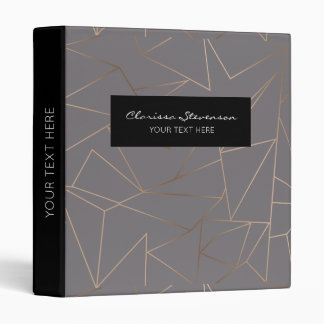 Faux rose gold elegant modern minimalist geometric vinyl binder