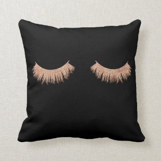 Faux Rose Gold Eyelashes Glam Throw Pillows