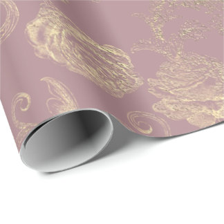 Faux Rose Gold Floral Blush Red Bean Bridal Wrapping Paper
