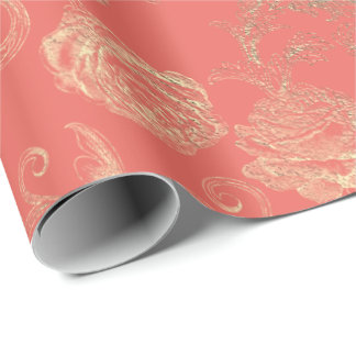 Faux Rose Gold Floral Coral Bridal Wedding Wrapping Paper