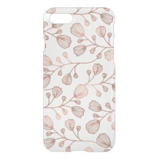 Faux Rose Gold Foil Botanical Pattern Clear iPhone 8/7 Case