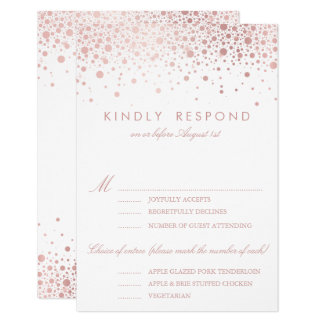 Faux Rose Gold Foil Confetti Dots Wedding RSVP Card