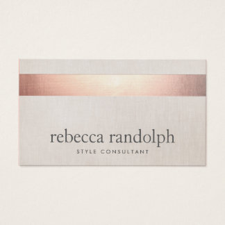 Faux Rose Gold Foil Elegant Modern Beige Linen Business Card