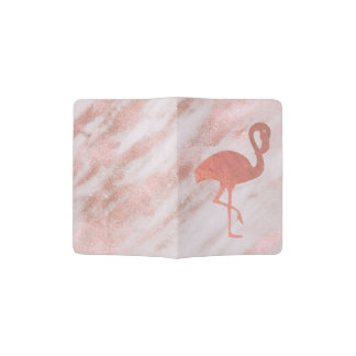 faux rose gold foil flamingo on pink marble passport holder