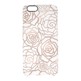 Faux Rose Gold Foil Floral Lattice Clear Clear iPhone 6/6S Case