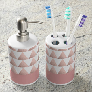 faux rose gold foil geometric triangles pattern bath sets