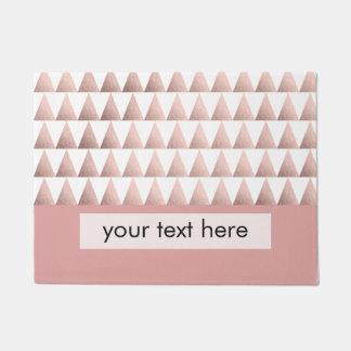 faux rose gold foil geometric triangles pattern doormat