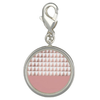 faux rose gold foil geometric triangles pattern photo charm