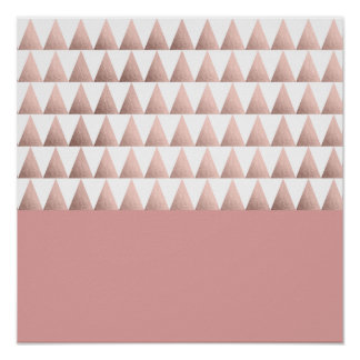 faux rose gold foil geometric triangles pattern poster