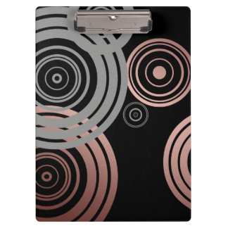 faux rose gold foil grey geometric circles pattern clipboards
