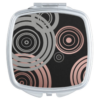 faux rose gold foil grey geometric circles pattern compact mirrors