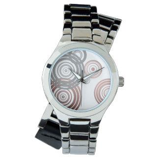 faux rose gold foil grey geometric circles pattern wrist watches