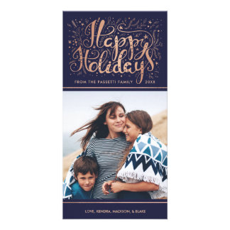 Faux Rose Gold Foil Holiday Photo Card