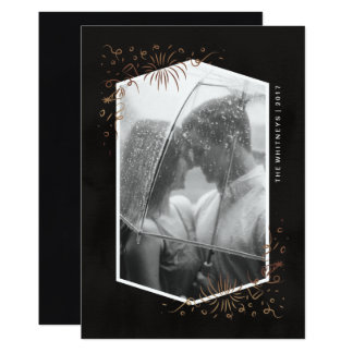 Faux Rose Gold Foil New Years Photo Card